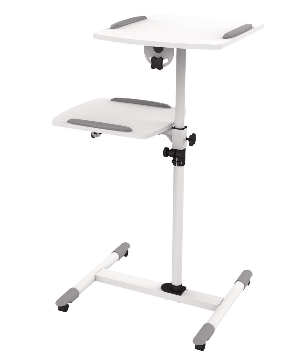 ProHT 2-Shelves Universal Mobile Projector/Laptop Trolley (05486A), Sit-Stand Laptop Desk Cart, Adjustable Projector Stand/Rolling Computer Stand, Rotated 360° and Tilted up to 35° .White by ProHT