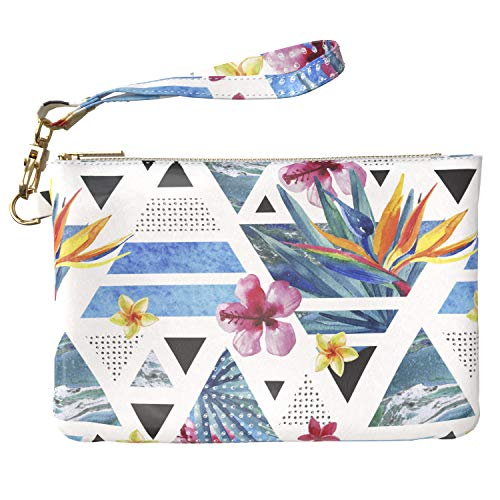 Lex Altern Makeup Bag 9.5 x 6 inch Tropical Geometric Pattern Abstract Triangle Modern Flowers Design Print Purse Pouch Cosmetic Travel PU Leather Case Toiletry Women Zipper Bathroom Wristband Girly