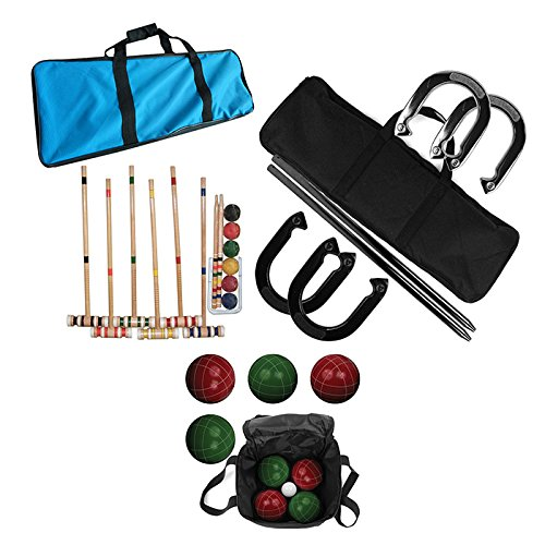 Deluxe Outdoor Summer Games Set - Bocce Ball, Horseshoes, and Croquet by TMG