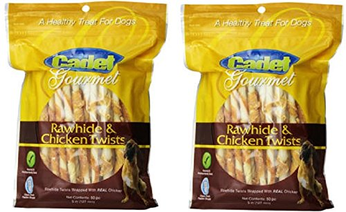 Cadet Gourmet 07220 50 pc Rawhide & Chicken Twists Dog Treats - Quantity 2