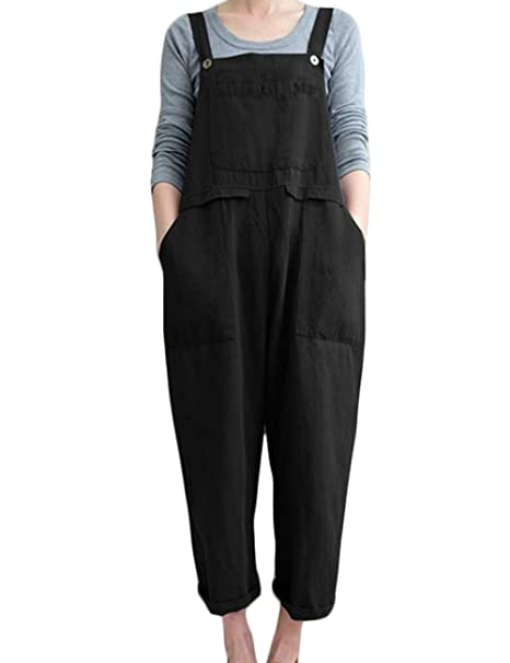 2fb8660ace93 Hixiaohe Womens Cotton Linen Loose Fit Overalls Jumpers Casual Harem Pants  Trousers 2XL (Black