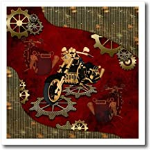 3dRose Heike Köhnen Design Steampunk - Steampunk, awesome motorcycle with gears - 6x6 Iron on Heat Transfer for White Material (ht_254556_2)