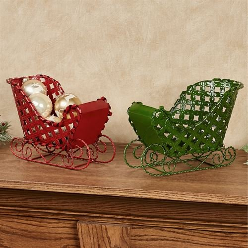 Hanna's Handiworks Sleigh Tabletop Accents Multi Warm Set of Two