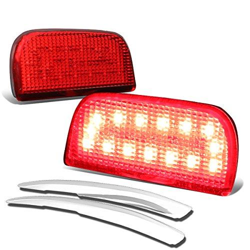 For 16-17 Honda Civic Red LED Rear Bumper Reflectors Light Lamp + Chrome Trim