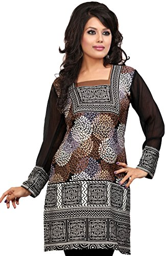 Kurti Top Tunic Womens Printed Blouse India Clothing (Brown, XL)