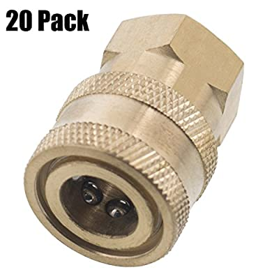 Erie Tools 20 Pressure Washer 1/4 Female NPT to Quick Connect Socket Brass Coupler, High Temp, 4000 PSI, 10.5 GPM