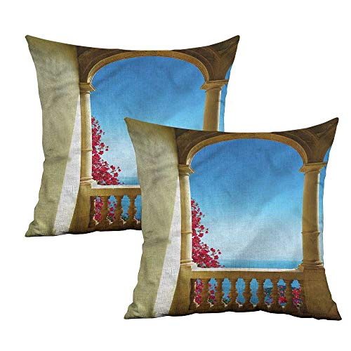 Khaki home Patio Square Personalized Pillowcase Ancient Balcony Bougainvillea Square Body Pillowcase Cushion Cases Pillowcases for Sofa Bedroom Car W 20