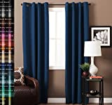 Turquoize Pair(2 Panels) Solid Blackout Drapes, Dutch Blue, Themal Insulated, Grommet/Eyelet Top, Nursery & Infant Care Curtains Each Panel 52