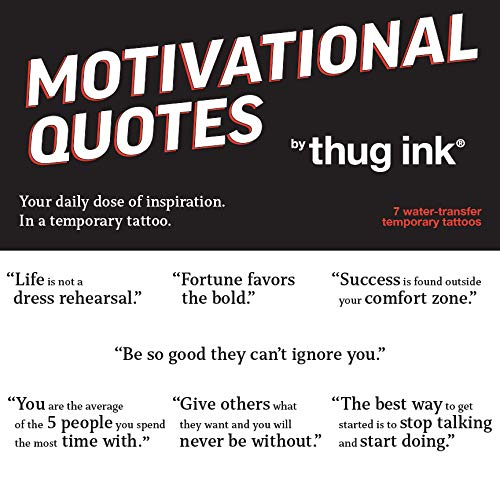 Motivational Quotes by Thug Ink - 7 Temporary Tattoos ~ Daily Motivational Quotes ~ Inspirational Quotes ~ Water-transfer Tattoos (Quotes Temporary Tattoos)