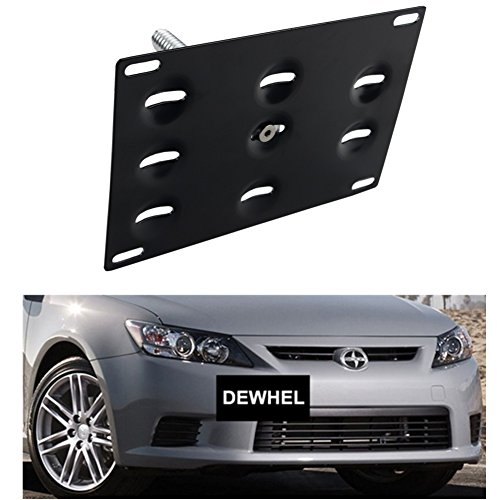 DEWHEL Front Bumper Tow Hook License Plate Mount Bracket Holder Bolt On No Drill Hole for Scion TC 2011 2012 2013