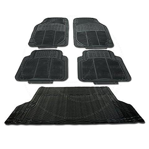 SN#100000000845-0241-210 For Dodge Dakota Car Rubber Floor & Trunk Mat 5pcs Set - 1995 Dodge Neon Rubber