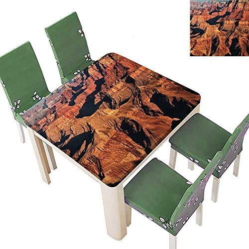 (Printsonne Polyester Tablecloth Famous Maj tic Grand Cany Red Different Cliff Base Elevati Brown Easy Care Spillproof 50 x 50 Inch (Elastic Edge))