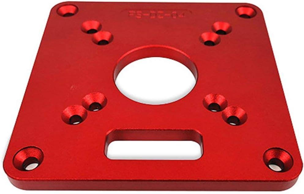 Sunnyflowk Universal Aluminium Router Table Insert Plate Bancs de travail du bois Routeur en bois Mod/èles de coupe Machine de gravure ordinaire Rouge