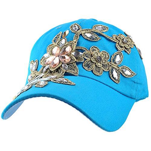 Elonmo Bling Rhinestone Lace Flower Hat, Womens Baseball Cap Crystal Rhinestone Golf Sun Hats Adjustable (042-Sky Blue)