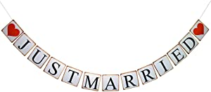 Brcohco Retro Just Married Banner Wedding Decor Bunting Party Decoration Supplies