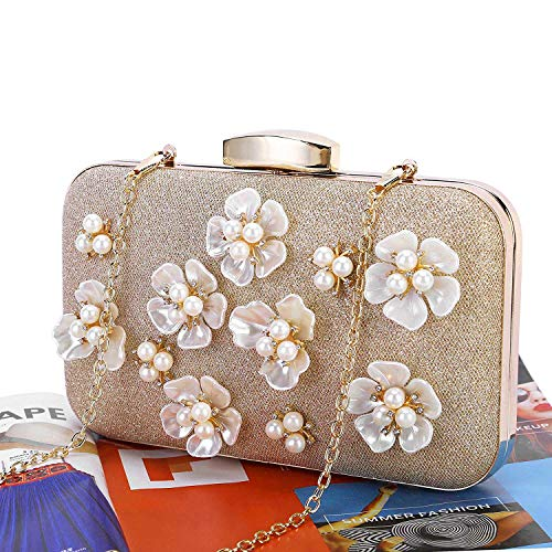 Apricot Bags Wedding TOOGOO Evening Women's Floral Purse Design Beaded Clutch Black 0w0qv7YH