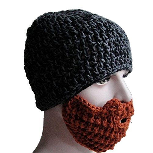 SUPOW Knitted Hat, Unisex Balaclava Windproof Hat Sports Ski Face Mask Winter Warm Beanies Hat Wind Guard Cap with Funny Beard Shaped Mouth-muffle (Heather - Beards Hats Men With And