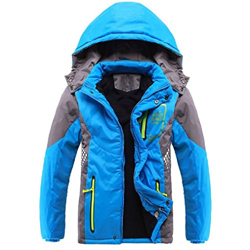 Vinmin Valentina Winter Latest Boys Thicken Fleece Hooded Jacket Warm Quilted Coat Outdoor Blue 8    Height 48 inch 51 inch