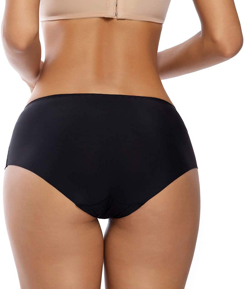 WOWENY 2//3 Pezzi Mutanda Donna a Vita Media e Alta Seta Slip Donna Elastiche Mutandine di Ghiaccio Mutande Underpants Ice Silk Panties