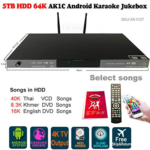 5TB HDD 64K Songs Thai, New Khmer/Cambodian DVD, NEW English Songs Android Karaoke Machine,Songs Player,Jukebox.AK1C