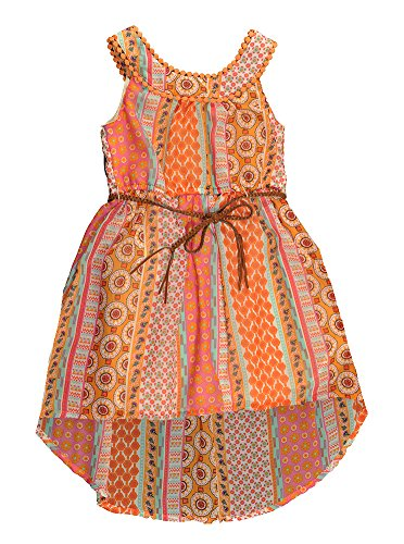 Pogo Club Little Girls Coral   Multi Color Printed Chiffon Dress With Belt  6X