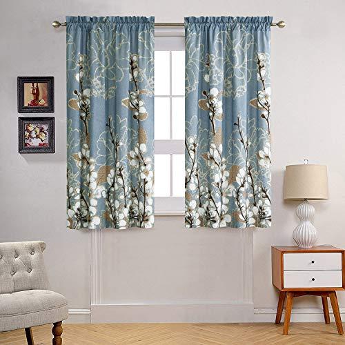 DS BATH Hanakotoba Window Curtain,Rod Pocket Microfiber Curtains,Floral Panels for Living Room,Flower Panels for Bedroom,2pcs Panel:Each 42