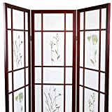 Magshion Oriental Room Divider Hardwood Shoji Screen (3 Panel Small Flowered-Cherry)