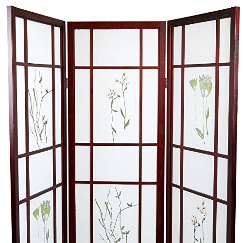 Room Floral Oriental Divider (Magshion Oriental Room Divider Hardwood Shoji Screen (3 Panel Small Flowered-Cherry))
