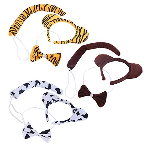 Tie Ear amp; Fancy Bunny Tiger 3Pcs amp; Hair Party Headband Tail Dress Animal Bow 6qfzIx