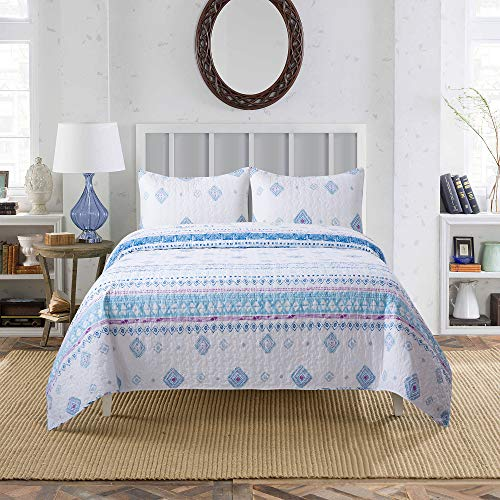 (Soul & Lane Morning Glory 100% Cotton Watercolor Printed 2-Piece Quilt Set (Twin) | with 1 Sham Pre-Washed Reversible Machine Washable Lightweight Bedspread Coverlet)