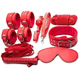 GEBDSM 7Pcs Plush Bondage Set With Hand Ankle Cuffs Whip Sex Slave Neck Collar Mouth Ball Gag Blindfold Eye Mask 10m Bondage Rope Fetish BDSM Kit Adult Sex Toys For Couples Red