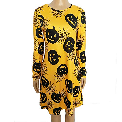 Halloween Costumes Dress for Women - Female Long Sleeve Casual Pumpkin Printed Pullover Swing A-Line Dress -