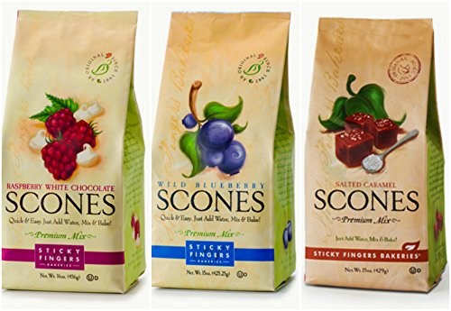 Sticky Fingers Scone Mix Variety Pack in 3 Flavors: (1) Salted Caramel Scone Mix, (1) Raspberry White Chocolate Scone Mix, and (1) Wild Blueberry Scone Mix,16 Oz Each (3 Bags Total) (British Gift Basket)