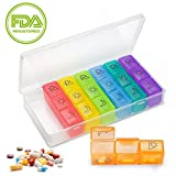 Weekly Pill Organizer, BPA Free Travel 7 Day Pill Box Case (3 Times a Day), Daily Medicine Organizer for Vitamin/Fish Oil/Supplements