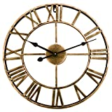 Goshfun Vintage Wall Clock, 3D Roman Numerals Silent Wall Clock Large Metal Decorative Clock for Living Room Kitchen Bedroom, 16-Inch, Retro Golden