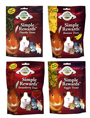 Oxbow Simple Rewards Treats for Rabbits, Guinea Pigs, and Hamsters Variety Pack - 4 Flavors (Timothy, Banana, Strawberry, and Veggie Treats) - 4 Total Pouches