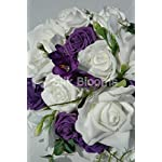 White-Purple-Rose-Freesia-Bridesmaid-Wedding-Flowers