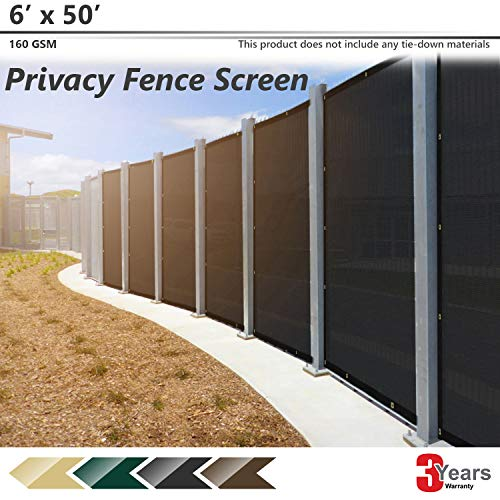 BOUYA Black Privacy Fence Screen 6' x 50' Heavy Duty for Chain-Link Fence Privacy Screen Commercial Outdoor Shade Windscreen Mesh Fabric with Brass Gromment 160 GSM 88% Blockage UV -3 ()