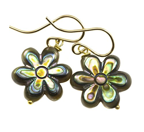 14k Yellow Gold Abalone Shell Earrings Mother of Pearl MOP Carved Flower Shaped Colorful Drops 14k Yellow Gold Mop