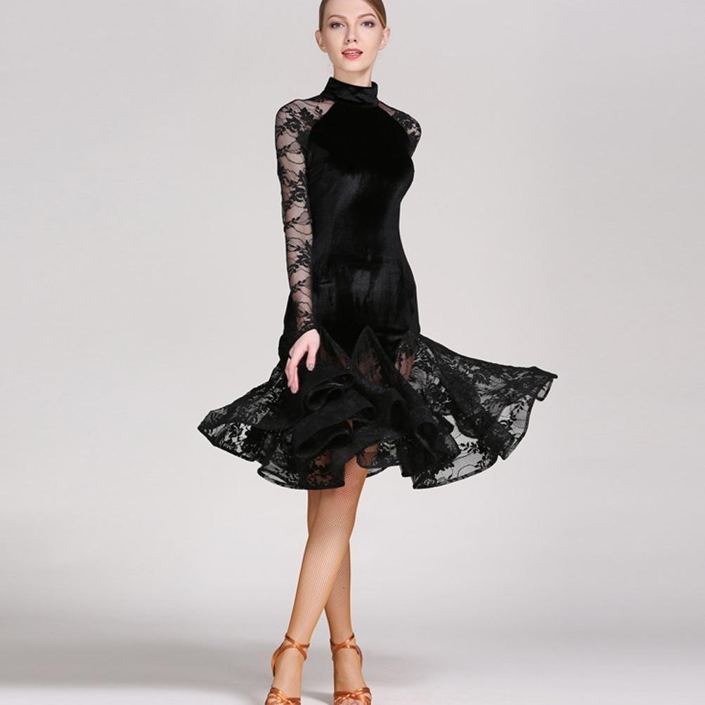 Wangmei Hoher Kragen Samt und Spitze Spleißen Mit Drapiert Gute Qualität Lateinischer Tanz Outfits für Damen Aufführung B0775TPWLV Bekleidung Vollständige Spezifikationen