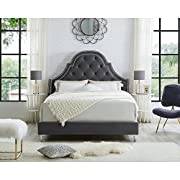 InspiredHome Grey Velvet Platform Bedframe – Design: Leonardo | King Size | Tufted | Modern | Nailhead Trim Finish