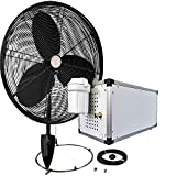 30'' OSC Misting Fan Kit - High Pressure 1500 PSI Misting Pump - Stainless Steel Misting Ring - For Warehouse Cooling, Industrial Misting, Outdoor Restaurant Cooling …(30'' OSC 1 - Fan Black)