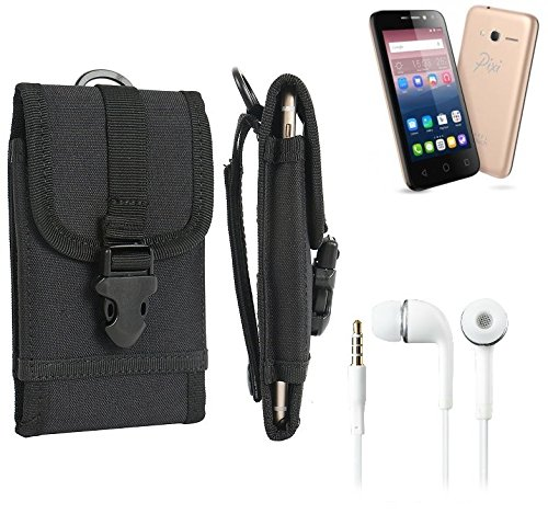 bolsa del cinturón / funda para Alcatel Pixi 4 (4 Zoll), negro + Auriculares | caja del teléfono cubierta protectora bolso - K-S-Trade (TM)