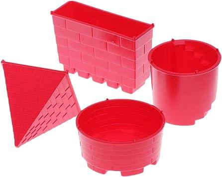 Toyvian 4 Piezas de Juguetes para niños en la Playa Juego de Arena en el Castillo de la pirámide Juego de Juguetes para niños y niñas (Rojo): Amazon.es: Juguetes y juegos