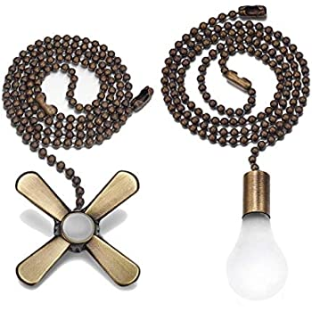 Bronze Light And Fan Cord Ceiling Pull Chain With 2pcs 12