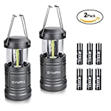 LED Camping Lantern - GYMAN Led Lantern Camping Lantern(2 Pack Collapsible) with 6 AA Batteries Ultra Bright with Magnetic Base Best Camping Equipment Gear Survival Kit for Emergency, Hurricane, Power Outage and Repairing