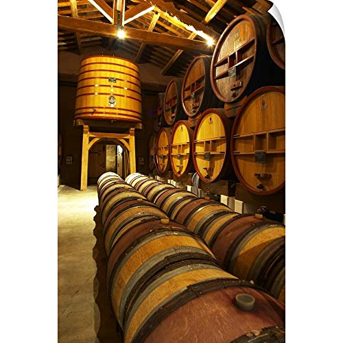 CANVAS ON DEMAND Aging Cellar with Oak Barrels and Larger Wooden vats, Chateau de Beaucastel, France Wall Peel A.