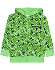 Vanilla Underground Minecraft Creeper All Over Print Boys Green Zip Up Hoodie Kids Hooded Sweater