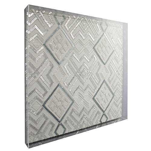 Global Style, LLC Framed Acrylic Shadow Box Hand Embellished Decorative Fabric Wall Art Silver Geometric Design