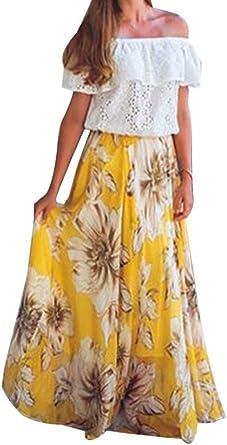 Frecoccialo - Falda larga gitana estampada floral, falda bohemia de muselina, cintura elástica
